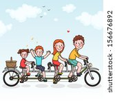 family tandem bicycle. happy... | Shutterstock .eps vector #156676892