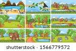 background scenes of animals in ... | Shutterstock .eps vector #1566779572