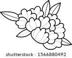 peony old school flower art | Shutterstock .eps vector #1566880492