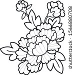 peony blooming flower black and ... | Shutterstock .eps vector #1566880708