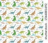 dino seamless pattern  cute... | Shutterstock .eps vector #1566881692