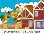 Cartoon Farm Happy Scene With...