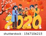 people pay a new year visit and ...   Shutterstock .eps vector #1567106215