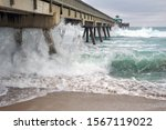 Wooden Fishing Pier With Beach...