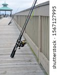 Fishing Rods And Reels Leaning...