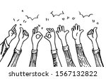 doodle hands up hands clapping. ... | Shutterstock .eps vector #1567132822