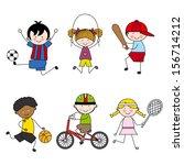 set of vector cartoon sport... | Shutterstock .eps vector #156714212