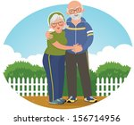 Vector illustration of an elderly couple in sports suits/ Old couple in track suits/ Vector illustration of an elderly couple in jogging suits in the park