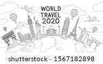 world travel landmark doodles... | Shutterstock .eps vector #1567182898