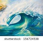 Oil Painting. Tsunami