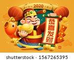 blessing god of wealth holding... | Shutterstock .eps vector #1567265395