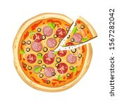 fresh delicious pizza vector... | Shutterstock .eps vector #1567282042