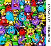 seamless pattern cute funny... | Shutterstock .eps vector #1567292005