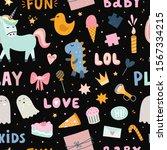 kids party seamless pattern... | Shutterstock .eps vector #1567334215