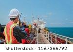 Crew Worker On Tanker Ship ...