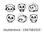 friendly and cute pandas set.... | Shutterstock . vector #1567381525