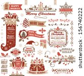 set of christmas decorative... | Shutterstock .eps vector #156740222