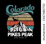 Colorado Pikes Peak Mountain illustration in retro style and colours