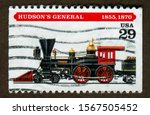 USA stamp no circa date: a stamp printed in USA shows Hudson's General Locomotive. - stock photo