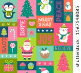 cute snowman  santa claus ... | Shutterstock .eps vector #1567548085