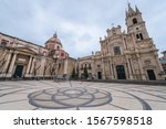 St Mary Cathedral and Apostles Peter and Paul Church on a Cathedral Suqare in Acireale city on Sicily Island, Italy