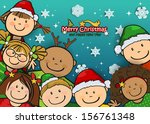 children with christmas clothes ... | Shutterstock .eps vector #156761348