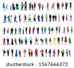 women and men in fashionable... | Shutterstock . vector #1567666372