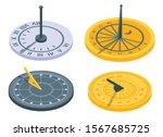 Sundial Icons Set. Isometric...