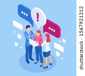 isometric concept of discussing ... | Shutterstock .eps vector #1567921312