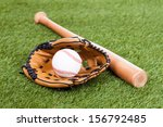 leather glove with baseball and ... | Shutterstock . vector #156792485