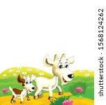 cartoon farm scene with animal... | Shutterstock . vector #1568124262