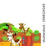 cartoon farm scene with animal... | Shutterstock . vector #1568124265