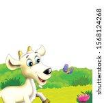 cartoon farm scene with animal... | Shutterstock . vector #1568124268