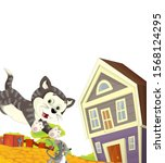 cartoon scene with cat having... | Shutterstock . vector #1568124295
