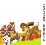 cartoon scene with cat having... | Shutterstock . vector #1568124298