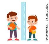 happy cute kid boy measure...   Shutterstock .eps vector #1568126002