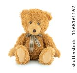 Small photo of Bear plushie doll isolated on white background with shadow reflection. Plush stuffed puppet on white backdrop. Light brown fluffy toy for children. Cute furry animal plaything.
