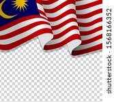 waving flag of malaysia.... | Shutterstock .eps vector #1568166352