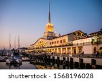 seaport in night lights in the... | Shutterstock . vector #1568196028