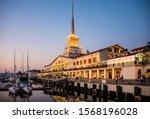 seaport in night lights in the... | Shutterstock . vector #1568196028