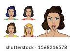 set of face women style pop art ... | Shutterstock .eps vector #1568216578