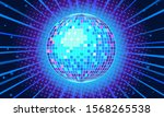 blue disco ball background.... | Shutterstock .eps vector #1568265538