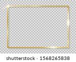 gold shiny frame. golden luxury ... | Shutterstock .eps vector #1568265838