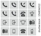 vector black telephone icons set | Shutterstock .eps vector #156836312