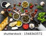 Fresh ingredients of italian food, mediterranean diet, background