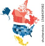 map of north america with... | Shutterstock .eps vector #1568439382