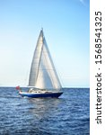 Sloop Rigged Yacht Sailing In...