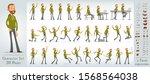 cartoon flat cute funny hipster ... | Shutterstock .eps vector #1568564038