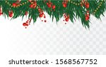 3d realistic branches  holly... | Shutterstock .eps vector #1568567752