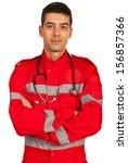 Paramedic In Uniform Standing...